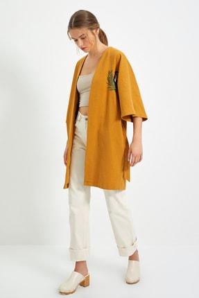 TRENDYOLMİLLA Hardal Nakışlı Kimono&Kaftan TWOSS21KM0158