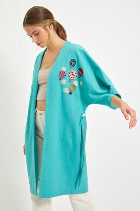 TRENDYOLMİLLA Yeşil Bağlamalı Kimono&Kaftan TWOSS21KM0162