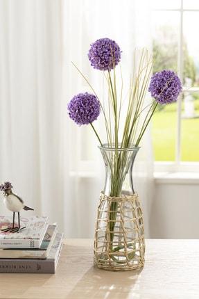 English Home Grass Bush Tek Dal Yapay Çiçek 63 Cm Mor