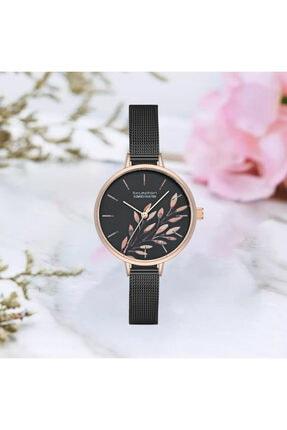 Exception Kadın Siyah Çiçek Desenli Çelik Kasa Kol Saati
