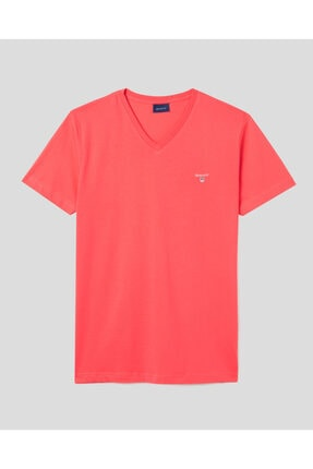 Gant Erkek Pembe Slim Fit V Yaka T-shirt