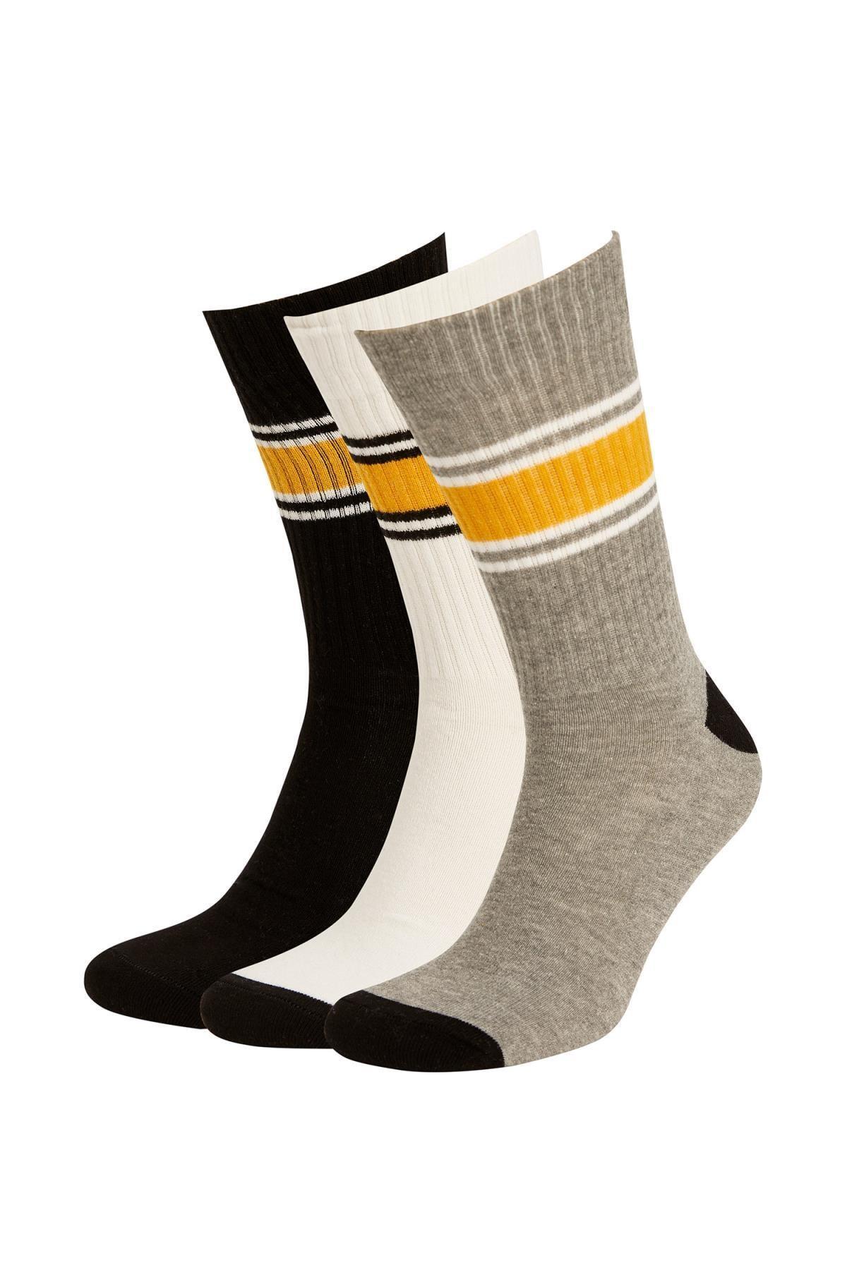 DeFacto Erkek Çok Renkli Desenli 3'Lü Uzun Soket Tenis Çorabı R7996AZ21AUKR