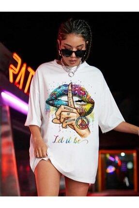 Millionaire Kadın Beyaz Let It Be Oversize T-shirt