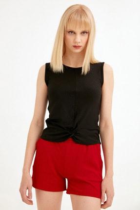 Fulla Moda Kadın Siyah Önü Düğümlü Fitilli Bluz