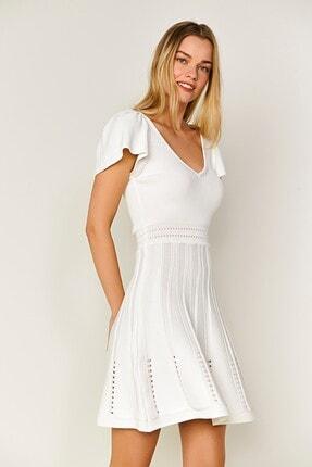 JOIN US Sırt Dekolteli Omzu Fırfırlı Triko Elbise