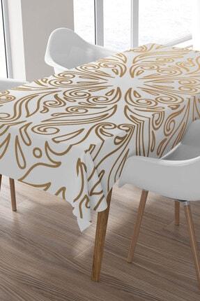 Ysahome Altın Sarısı Büyük Çiçek Desenli Masa Örtüsü