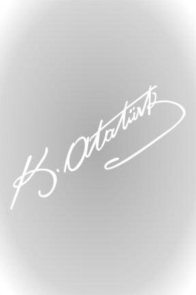 esticker Kemal Atatürk Imza Sticker Araba, Oto Araç Sticker Beyaz 15 X 4 Cm