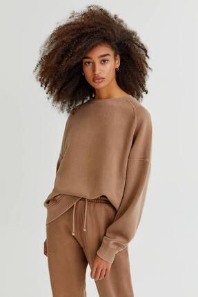 Pull & Bear Bisiklet Yaka Renkli Basic Sweatshirt