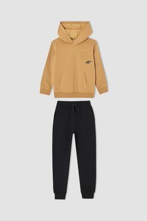 DeFacto Erkek Çocuk Kaplan Baskılı Kapüşonlu Sweatshirt Ve Jogger Eşofman Alt Takım