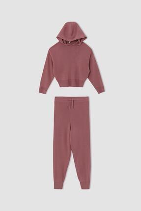 DeFacto Kız Çocuk Kapüşonlu Sweatshirt ve Jogger Eşofman Alt Triko Takımı