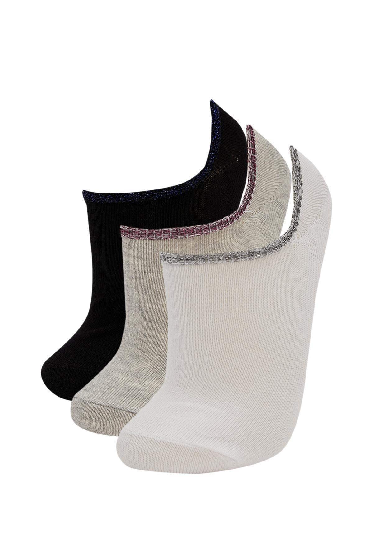DeFacto Kadın Çok Renkli 3'lü Patik Çorap R8283AZ21AU