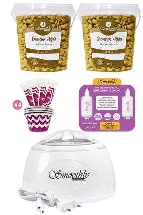 Smoothly 2 Kutu Gold Premium Boncuk Ağda Seti, Beyaz Ağda Isıtıcı Makine, Tüy Geciktirme Etkili Yağ, Spatula