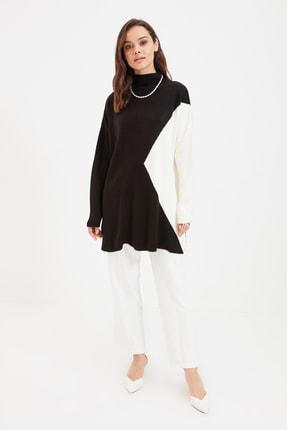 Trendyol Modest Siyah Renk Bloklu Triko Kazak TCTAW22AK0007
