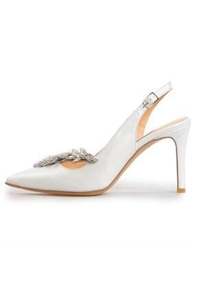 Flower Beyaz Deri Taşlı Abiye Ayakkabı