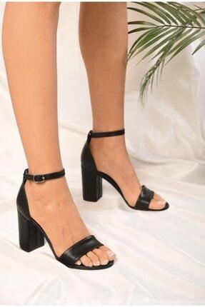 MELİKMERT Siyah Tek Bantlı Kadın Klasik Topuklu Ayakkabı