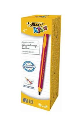 Bic Kids Evolution Üçgen Jumbo Kurşun Kalem Pembe 12`li Kutu