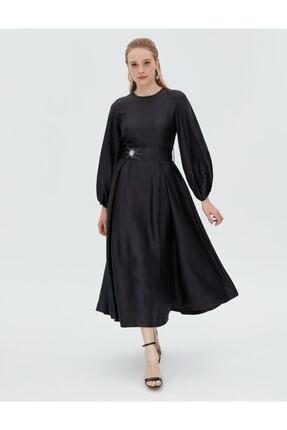 Kayra Kuşaklı Balon Kol Elbise Siyah B21 23134