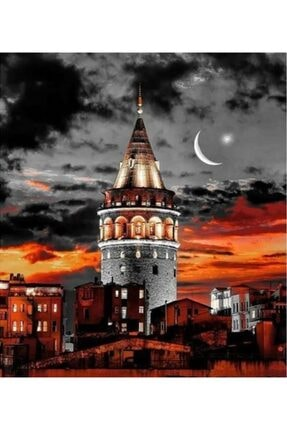 C&F-HOBBY Sayılarla Boyama Seti Kanvas 40x50 Fırça Ve Boya Seti Pamuk Tuval Bezi Istanbul Gece