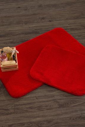 Aylem Home 2'li Banyo Paspas Takımı Peluş Kaymaz Taban Halı Kırmızı