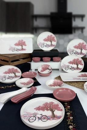 Keramika Bicycle 19 Parça 6 Kişilik Stackable Kahvaltı Takımı