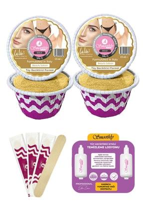 Smoothly 4 Parça Gold Soyulabilen Yüz Ağdası Tüy Geciktirici Etklili Masaj Yağı Spatula Seti
