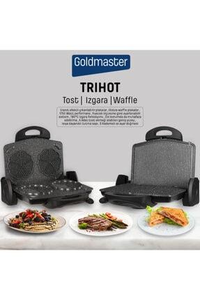 GOLDMASTER Trihot 3in1 Granit Çıkarılabilir Plaka Waffle ,ızgara, Siyah Tost Makinesi 6 Dilim