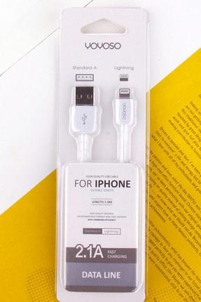 YOYOSO iPhone 5/6/7 için Beyaz Data Kablosu-2.1A