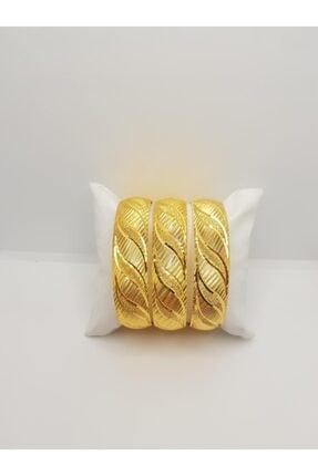 yılmaz gold 24 Ayar Altın Kaplama 1.5 cm Modern Lazer Demo Bilezik