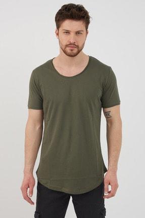 Tarz Cool Erkek Koyu Haki Pis Yaka Salaş T-shirt-tcps001r67s