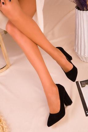 SOHO Siyah Süet Kadın Klasik Topuklu Ayakkabı 15313