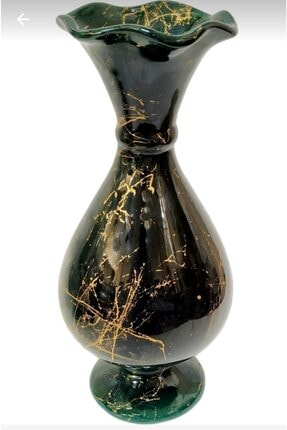 Vk çini ve seramik Zümrüt Yeşil Siyah Mermer Desenli El Yapımı Marul Vazo