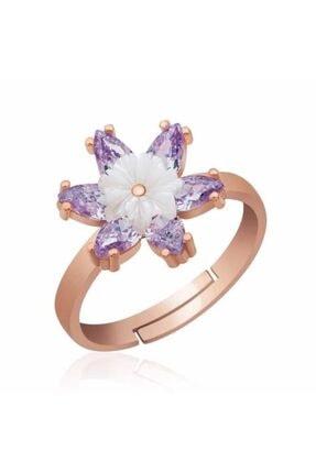 Gumush ?gümüş Lila Lotus Çiçeği Yüzük