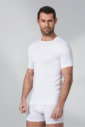 Namaldı 3 Adet Beyaz Renk Ribana 0 Yaka Fanila