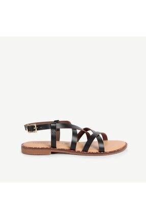 Yargıcı Boncuklu Taban Detaylı Deri Sandalet