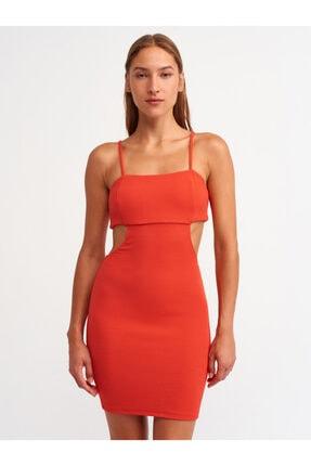 Dilvin 9137 Sırt Detaylı Elbise-kırmızı
