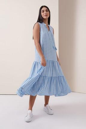 Gusto Kareli Uzun Elbise - Mavi