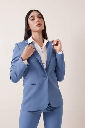 Gusto Tek Düğme Blazer Ceket - Mavi