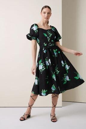 Gusto Kare Yaka Çiçekli Elbise - Siyah