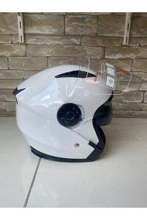 JİEKAİ Motosiklet Yazlık Kask Güneş Gözlüklü Beyaz