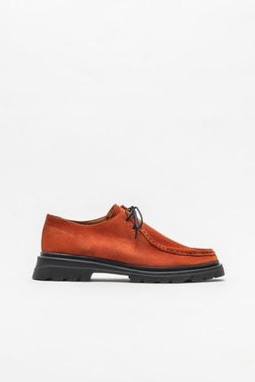 Elle Shoes Turuncu Deri Kadın Günlük Düz Ayakkabı