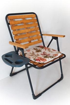 Tedarikcenter Kamp Sandalyesi Katlanır Sandalye Ahşap Piknik Sandalyesi Minder&bardaklık Hediyeli Cntr00211
