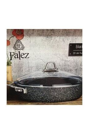 FALEZ Black Line Granit Döküm 24 Cm Kısa Karnıyarık Tencere Siyah