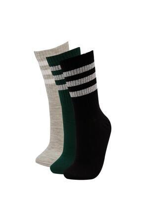 DeFacto Kadın Çok Renkli Desenli 3'Lü Soket Tenis Çorap M8784AZ21AUKR