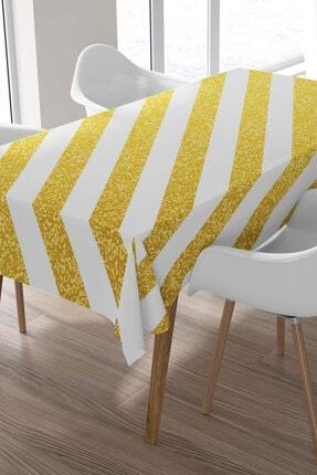 Ysahome Gold Renkli Yan Çizgi Desenli Masa Örtüsü