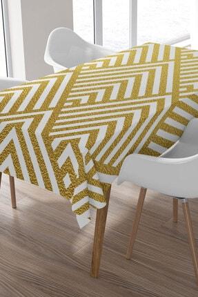 Ysahome Gold Renkli Zeminde Zikzak Desenli Masa Örtüsü
