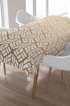 Ysahome Altın Sarısı Üç Boyutlu Küp Desenli Masa Örtüsü