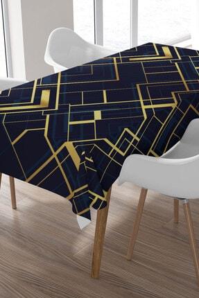 Ysahome Lacivert Zemin Altın Renkli Çizgi Desenli Masa Örtüsü