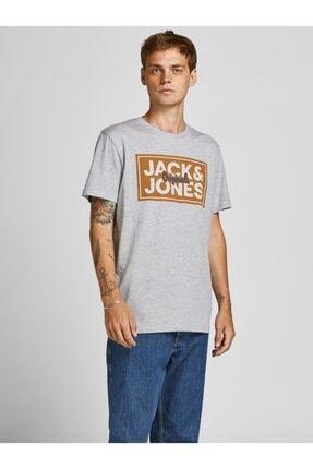 Jack & Jones Jack Jones Tapes Tee Ss Crew Neck Fst Erkek Gri Tshirt 12196583-05