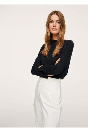 MANGO Woman Kadın Siyah Uzun Kollu Pamuklu Tişört