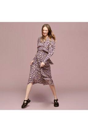 Mudo Baskılı Asimetrik Kesim Midi Elbise